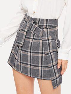 Buckle Belted Asymmetrical Plaid Skirt