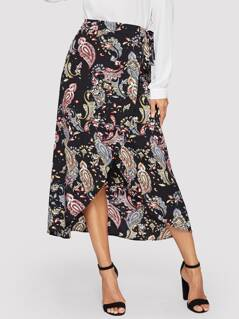 Allover Paisley Print Wrap Split Knot Skirt