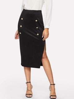 Slit Side Double Breasted Skirt