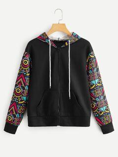 Geo Print Sleeve & Hoodie Drawstring Jacket