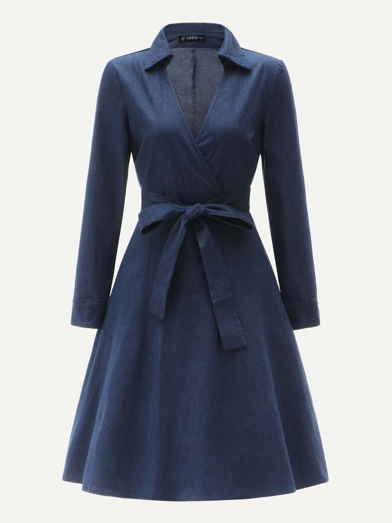 Купить 70s Приталенное платье-клёш с поясом, null, SheIn