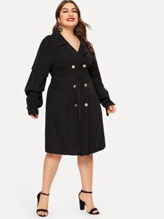 Plus Notch Collar Gathered Sleeve Buckle Belted Coat