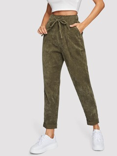 Drawstring Waist Cord Tapered Pants