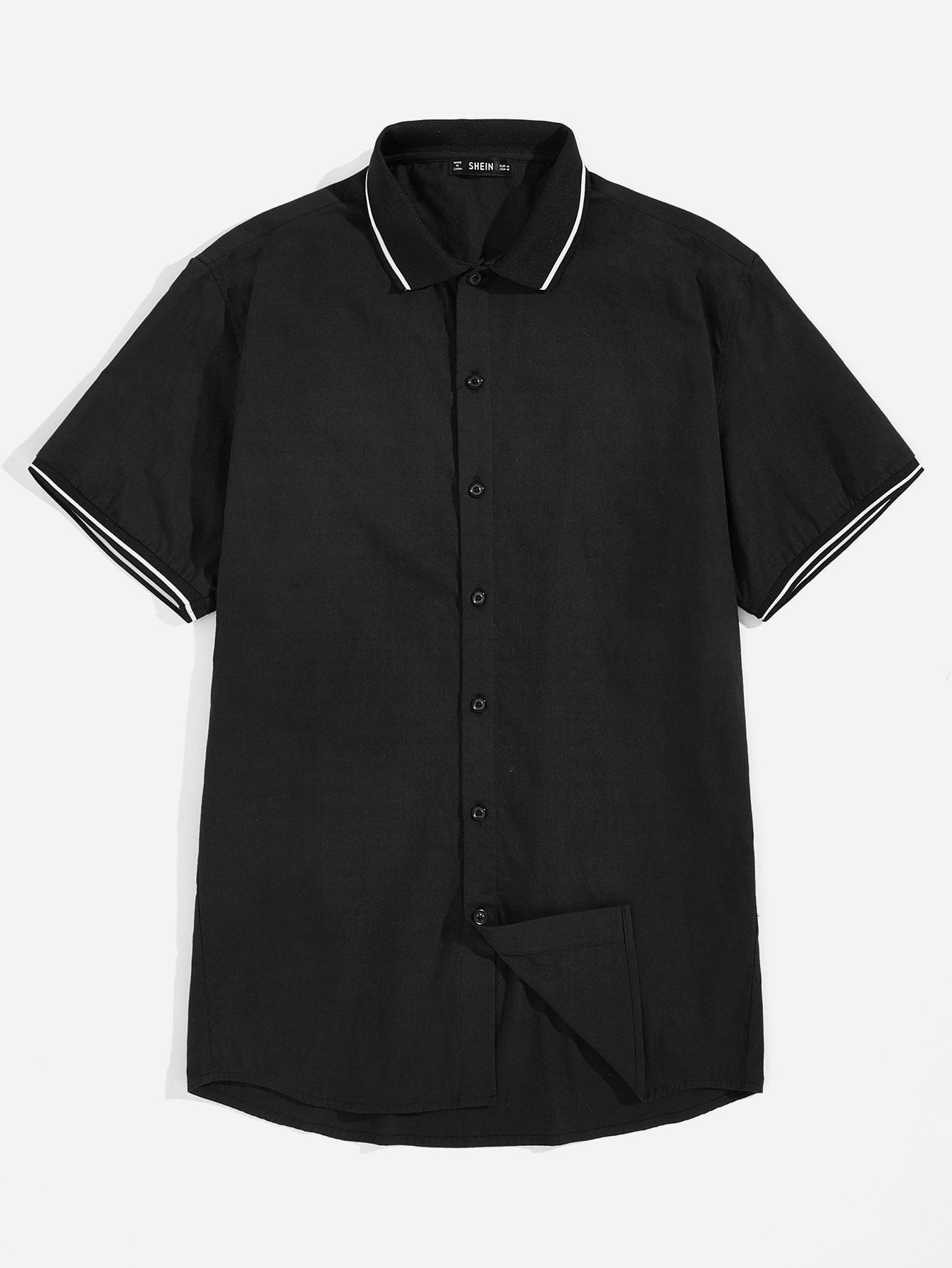 Купить Мужская рубашка с пуговицами и полосатым воротником, null, SheIn