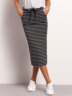 Drawstring Waist Striped Skirt