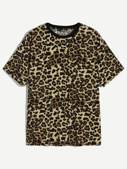 4b996895fd Men Leopard Print Tee | SHEIN IN