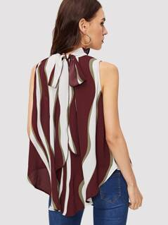 Tie Neck Asymmetrical Hem Color-block Top