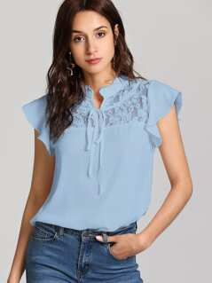 Tie Neck Floral Lace Insert Ruffle Top