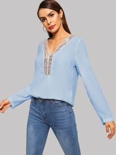 Sequins Contrast V-neck Top