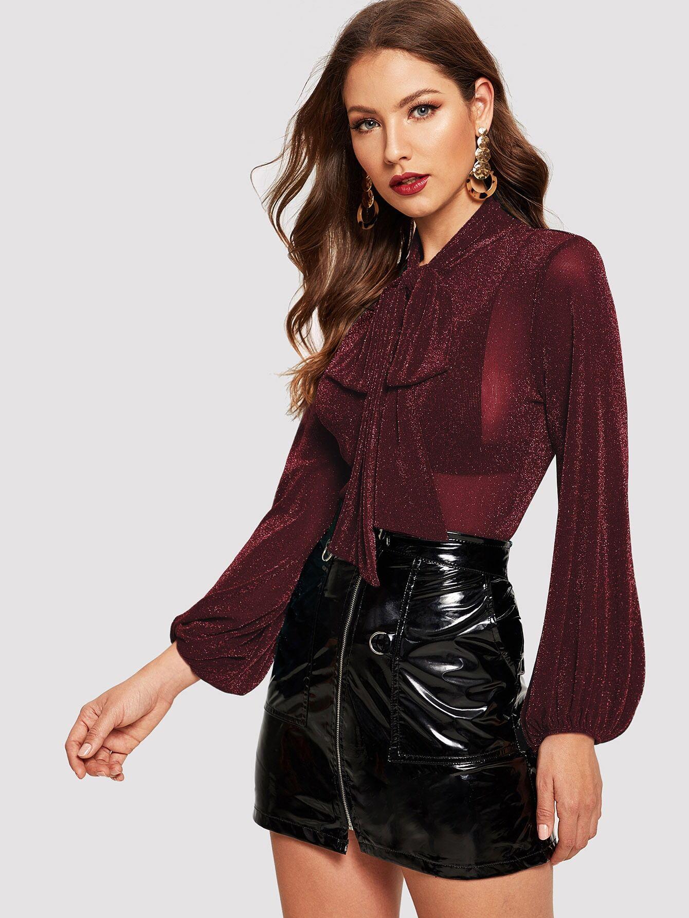 Купить Блестящая приталенная блуза с завязкой на шее и оригинальным рукавом, Debi Cruz, SheIn