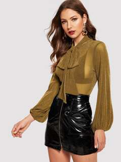 Tie Neck Lantern Sleeve Sheer Glitter Top