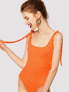 Polka-dot Print Knotted Strap Bodysuit