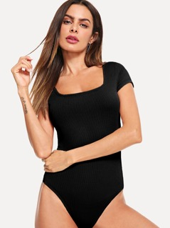 Square Neck Rib-knit Slim Fitted Bodysuit