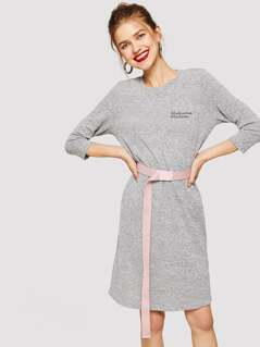 Letter Embroidered Heathered Grey Dress Without Belted