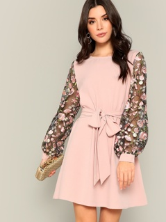 Flower Embroidered Mesh Sleeve Belted Dress
