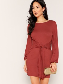 Lantern Sleeve Knot Front Rib-knit Dress