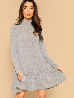 Mock Neck Ruffle Trim Marled Knit Dress
