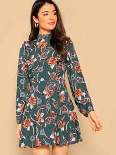 Mock Neck Ruffle Trim Floral & Chain Print Dress