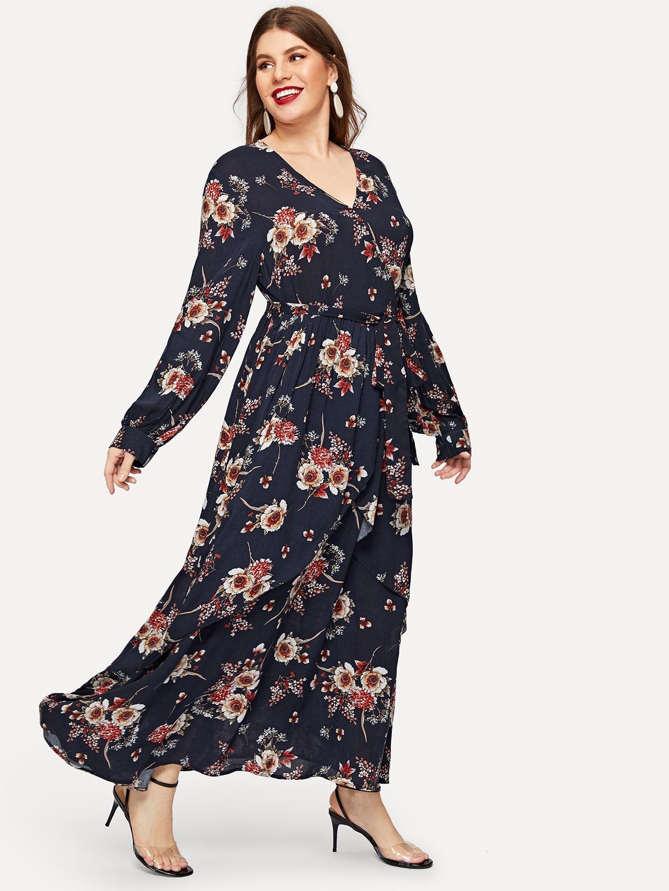Размер плюс цветочное длинное платье с v-образным вырезом и поясом