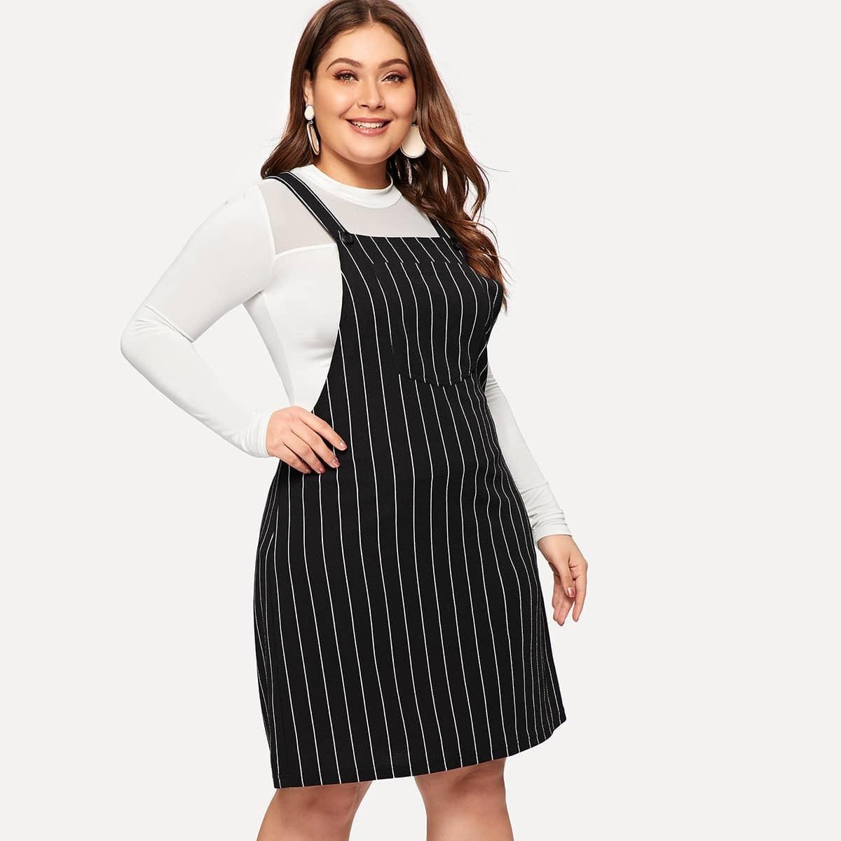 Zwart & wit Casual Gestreept Grote maten jurken