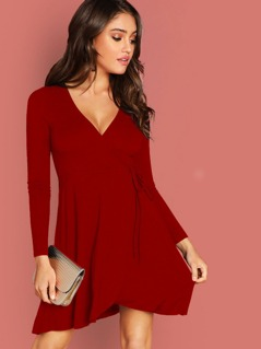 Self Tie Surplice Swing Dress