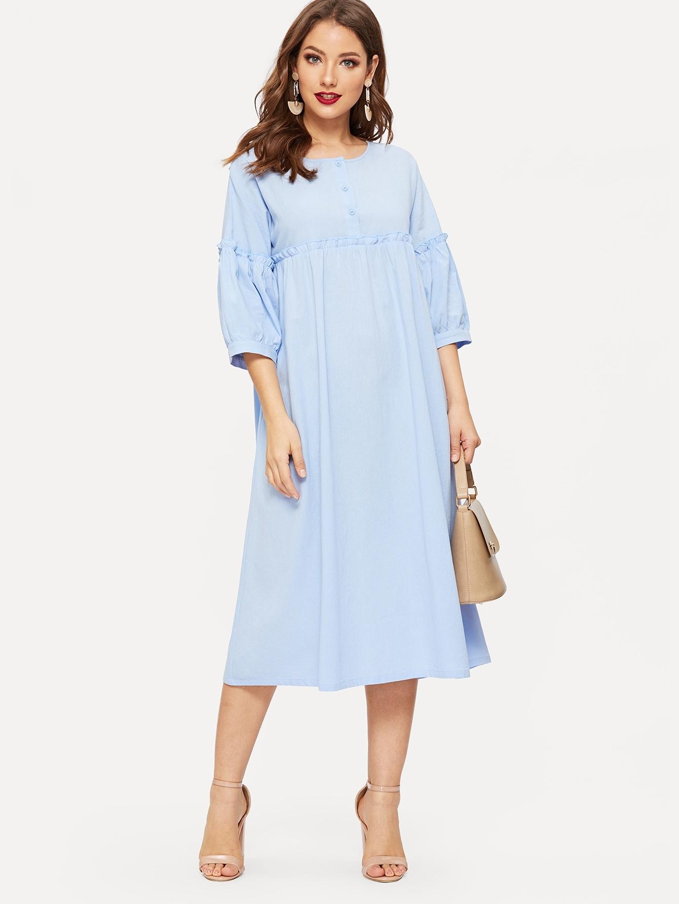 Купить Стиль кэжуал Одноцветный Синие Платья, Debi Cruz, SheIn