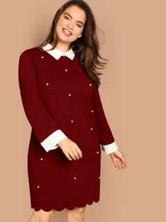 Plus Pearls Beaded Scallop Hem Collar Dress