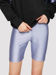 High Waist Solid Leggings Shorts