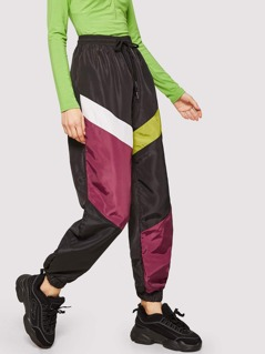 Drawstring Waist Color-block Tapered Pants