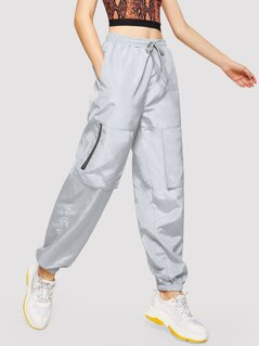 Drawstring Waist Zipper Pocket Tapered Pants