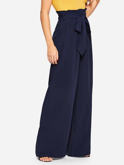 SheIn / Paperbag Waist Pocket Wide Leg Pants