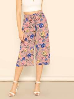 Tied Waist Flower Print Capris Pants
