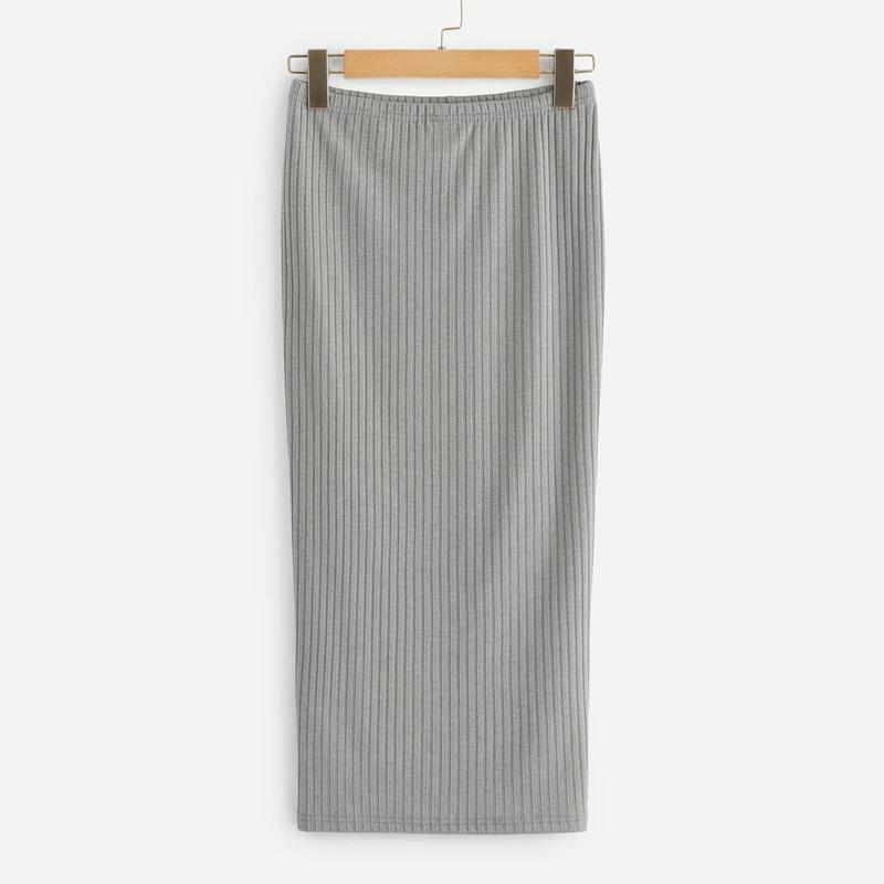 Split Hem Rib Knit Skirt, Grey