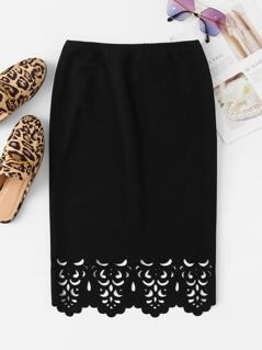 Scallop Edge Laser Cut Pencil Skirt