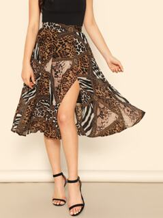 Mixed Animal Print Slit Skirt