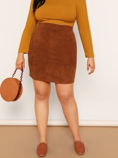 Plus Wide Waist Corduroy Skirt