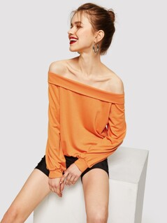 Off Shoulder Solid Pullover