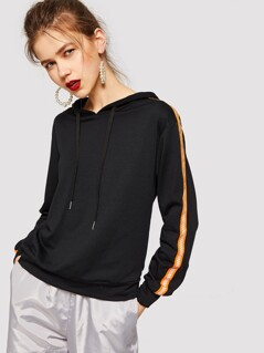 Striped Tape Sideseam Drawstring Hoodie