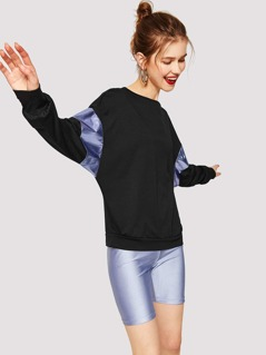 Metallic Panel Drop Shoulder Dolman Sleeve Sweatshirt