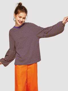 Drop Shoulder Striped Pullover