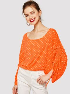 Drawstring Gathered Sleeve Polka-dot Tee