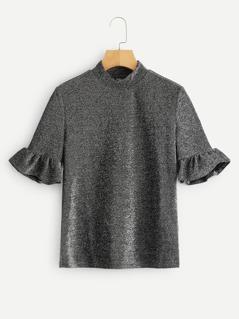 Mock Neck Ruffle Sleeve Glitter Top