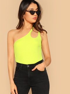 One Shoulder Ribbed Knit Neon Yellow Top