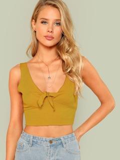 Knot Hem Rib-knit Crop Top