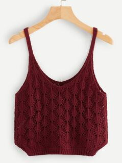 Double V Neck Eyelet Cami Top