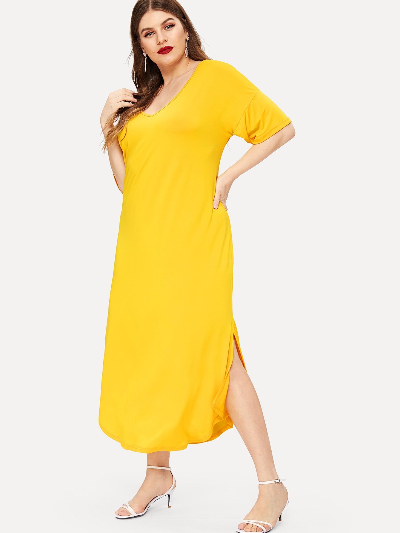 Размера плюс платье-рубашки с V-образным вырезом