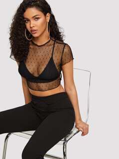 Lettuce Trim Mesh Crop Top Without Bra