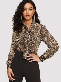 Tie Neck Leopard Top