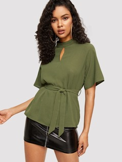Cut Out Front Raglan Sleeve Belted Top