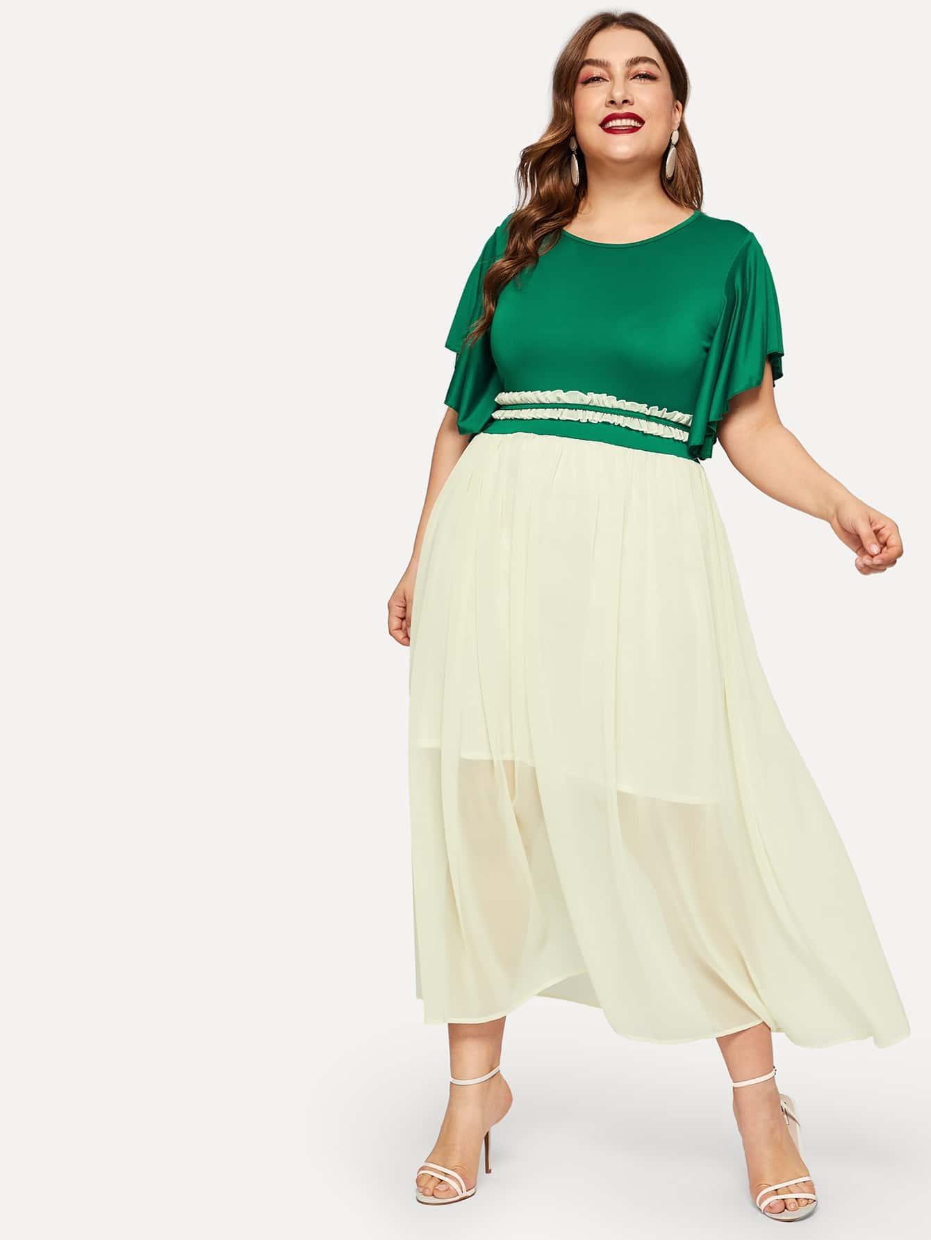 Купить Размер плюс двухцветное платье с оригинальным рукавом, Franziska, SheIn